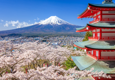 mount: Mt. Fuji with Chureito Pagoda in Spring, Fujiyoshida, Japan