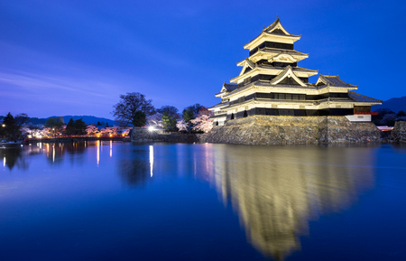 Matsumoto castle at night, Nagano, Japan