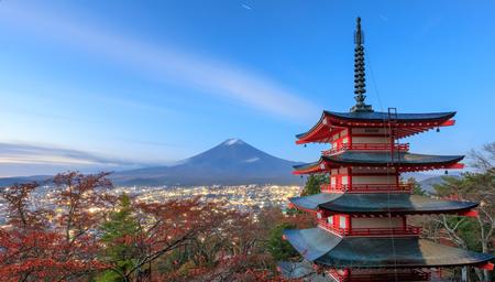 sengen: Mt. Fuji with Chureito Pagoda at night, Fujiyoshida, Japan Editorial