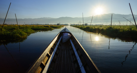 inle: Boat to floating garden in Inle Lake, Myanmar (Burma)