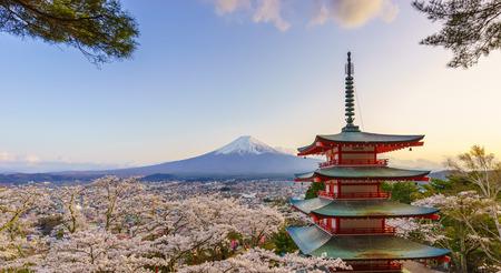 Mt. Fuji with Chureito Pagoda in Spring, Fujiyoshida, Japan