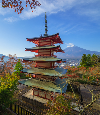 mount: Mt. Fuji with Chureito Pagoda in autumn, Fujiyoshida, Japan Editorial