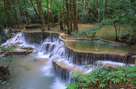 Deep forest Waterfall in Kanchanaburi province, Thailand Stock Photo