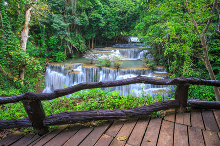 Deep forest Waterfall in Kanchanaburi province, Thailand Stock Photo