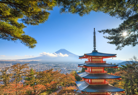 Mt. Fuji with Chureito Pagoda in autumn, Fujiyoshida, Japan Editorial