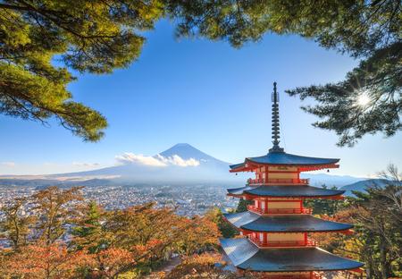 sengen: Mt. Fuji with Chureito Pagoda in autumn, Fujiyoshida, Japan Editorial