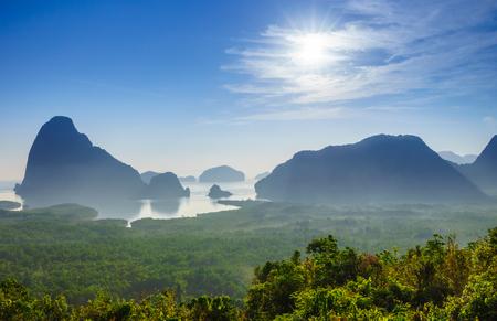 nang: Sunrise at Samet Nang She view point, Phangnga, Southern of Thailand Stock Photo