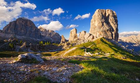Cinque Torri mountain peak at sunset, Dolomites Alps, Italy