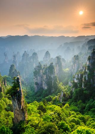 장가계 국가 국립 산림 공원 일몰, Wulingyuan, 후난, 중국