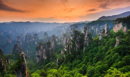 夕暮れ時、中国湖南省武陵源、張り家界国立森林公園