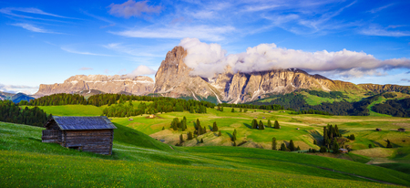Mt.Langkofel at sunset, view from Seiser Alm, Dolomites, Italy