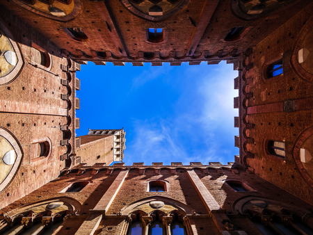 View from inside of The Torre del Mangia tower in Siena, Tuscany, Italy