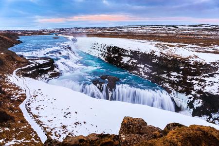 Gullfoss waterfall in Winter(birds eye view), Iceland