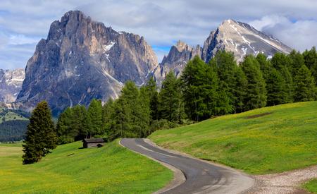 Road to Mt.Langkofel, Seiser Alm, Dolomites, Italy Banco de Imagens