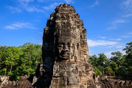 Stone faces of Bayon temple, Angkor Thom, Siem Reap, Cambodia Banco de Imagens