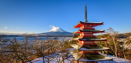 Mt. Fuji with Chureito Pagoda in Winter, Fujiyoshida, Japan