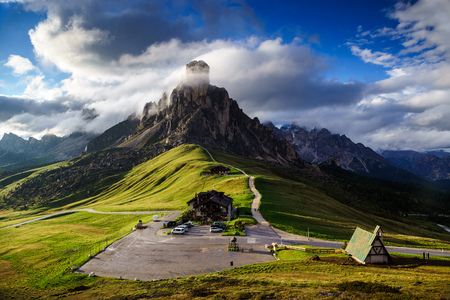 The Giau Pass at sunset, Belluno, Dolomites, Italy