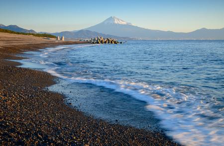 Mountain Fuji and beach at sunrise view from Suruga Bay, Shizuoka, Japan