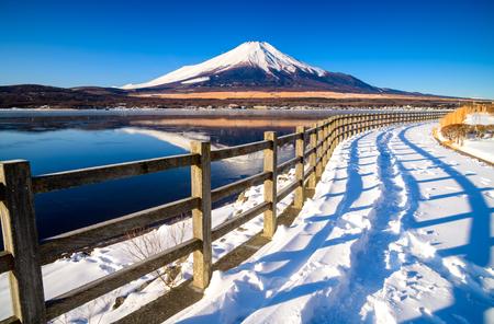 Road to Mt.Fuji with Lake Yamanaka, Yamanashi, Japan