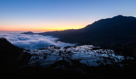 Yuanyang rice terrace at sunrise, Yunnan, China