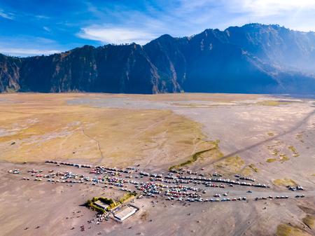 Aerial view of tourist jeeps at parking area, Bromo volcano, Indonesia Banco de Imagens