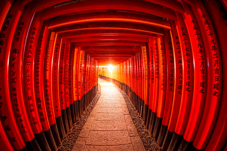Torii gates in Fushimi Inari Shrine, Kyoto, Japan Editorial