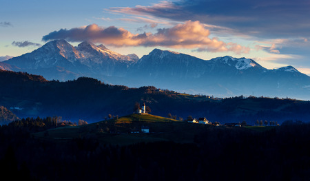 The church of St. Thomas at sunrise, Slovenia