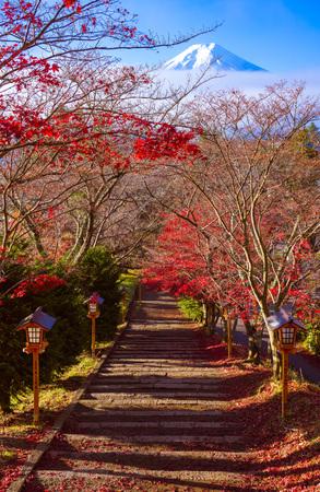 Camino al monte Fuji en otoño, Fujiyoshida, Japón