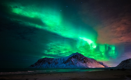 Aurora borealis (northern lights) over Skagsanden beach. Lofoten Islands, Norway Banco de Imagens
