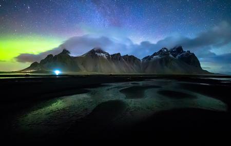 Vestrahorn mountain with Aurora borealis, Stokksnes, Iceland