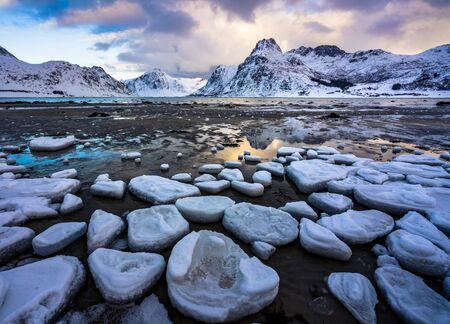 Lofoten islands in winter, Norway, Europe
