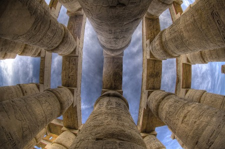 Columns in Karnak Temple (Luxor, Egypt) Banco de Imagens