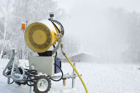 Working Snow Cannon for making gliding surface photo