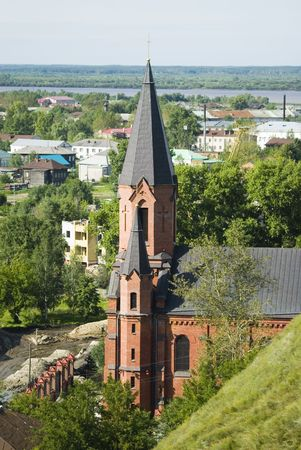 Downtown of Tobolsk in Russia with catholic temple  photo