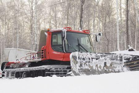 bulldoze: Snowplow for ski slope prepare at Abzakovo Ural sport center
