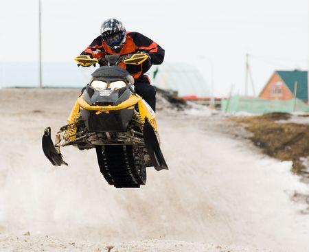 Competition of snow mobile riders in Tyumen. Siberia. Russia Banco de Imagens