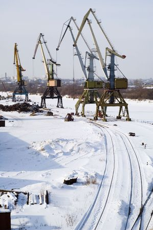 dockside: River port frozen on winter because there is ice on river