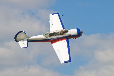 pilotage: Sport plane in air for pilotage technic show