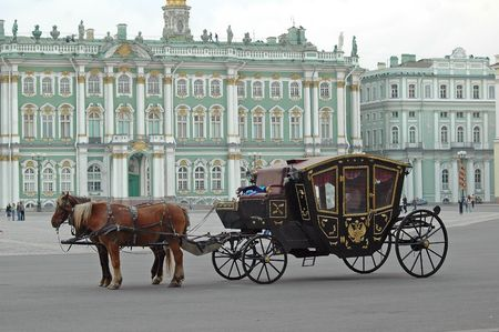 horse carriage: Crew with horses at Hermitage, St.Petersburg, Russia