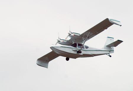 hydroplane: Russian hydroplane in air on airshow in Tyumen