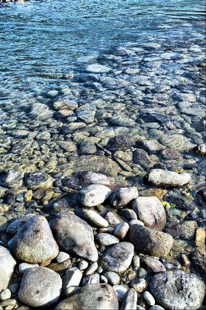 katun: Coastline of Katun river with pebbles