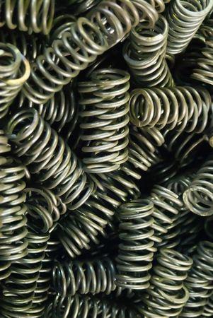 Metal springs at airplane jet engine factory photo