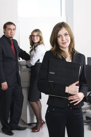 Smiling business woman working in office Stock Photo - 5929040