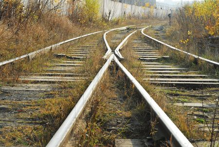 railroad transport: Old railway with old railway equipment Stock Photo
