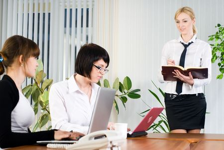 Businesswoman making presentation in office for own colleguaes photo