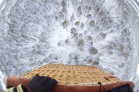 View from air balloon at winter forest