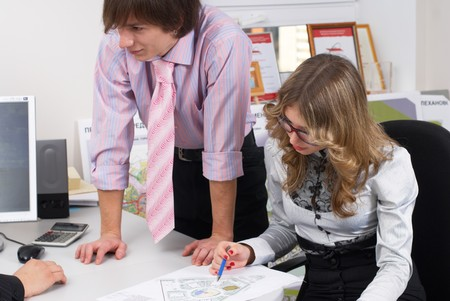 Business people working on project at office Stock Photo - 8048724