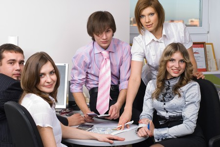 Business people working on project at office Stock Photo