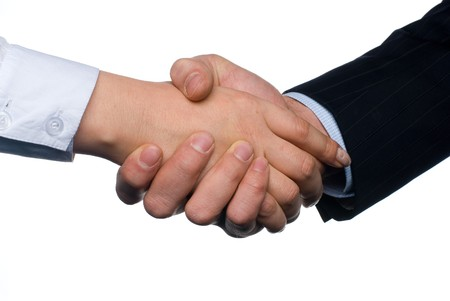 Handshake of business woman and man on white background photo