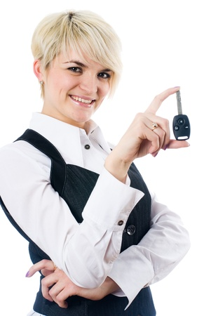 Woman with car key photo